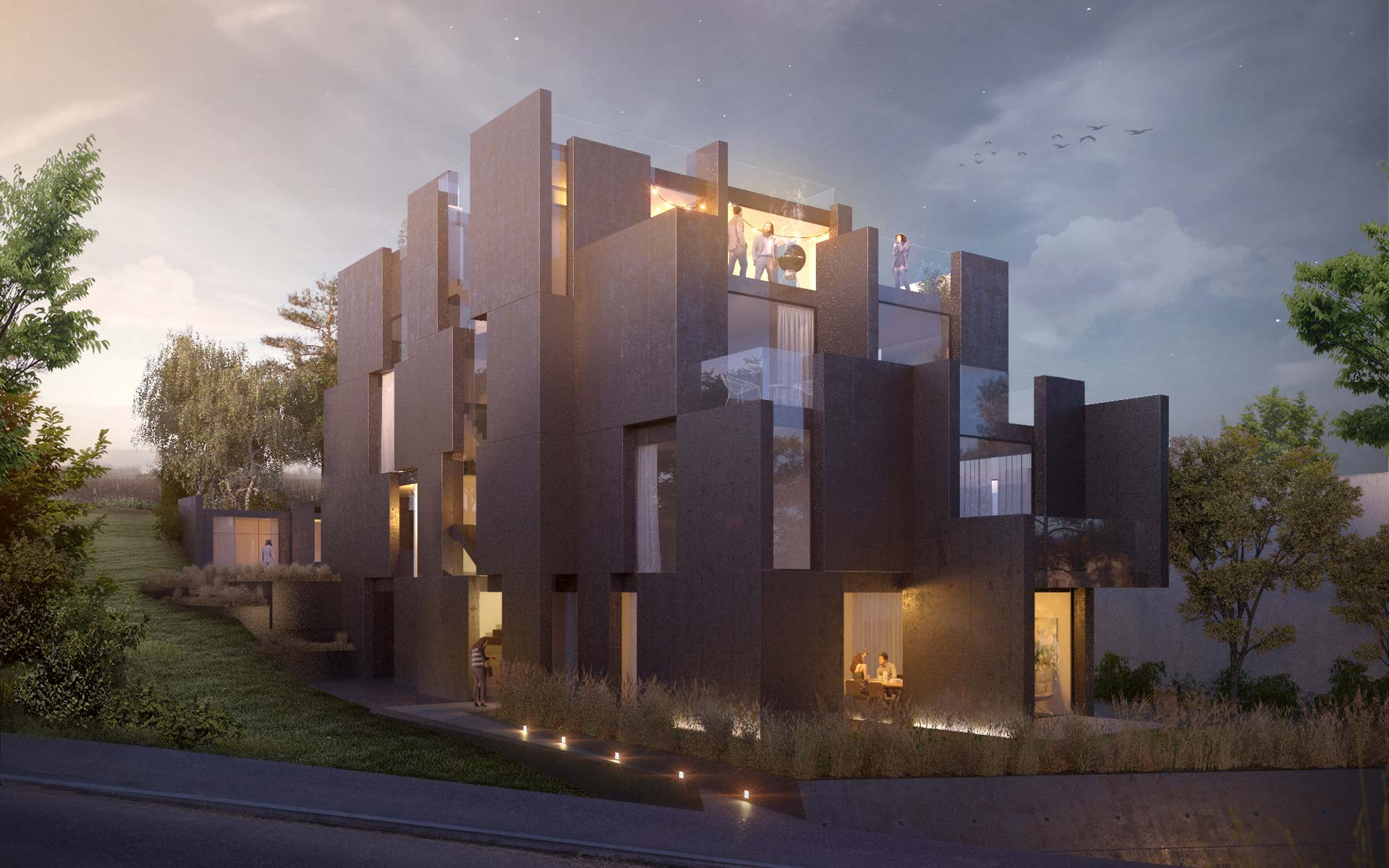 Residential Building by smartvoll visualization, rendering